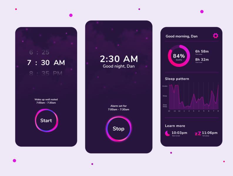 Sleep Tracker App uidesign concept design habit tracker habit wellness ux ui time sound sleep relax night mobile meditation illustration icons graphics bedtime app alarm
