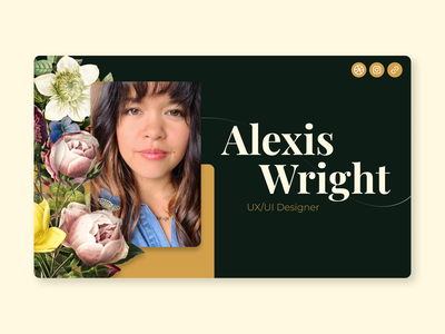 Personal Contact Card floral design organic gold green and gold graphic design uidesign homework branding design vintage design hello dribble hello welcome shot visual design ui mds contact card shiftnudge