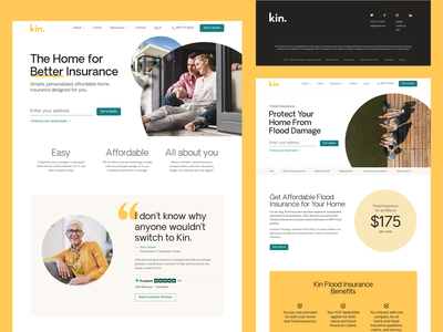 Kin Insurance Website ui design homeowner redesign minimal landing page interface identity homepage creative black yellow color clean insurance company insurance website ux ui branding design