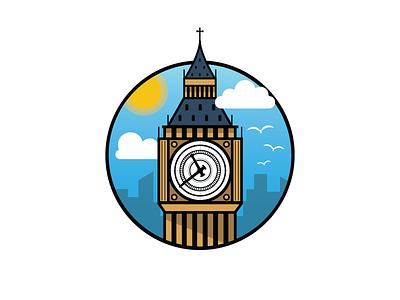 Big Ben england tower sticker landmark uk relic london illustration icon clock building