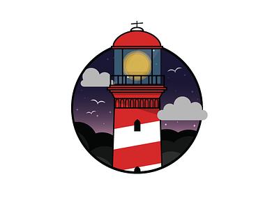 Westerlichttoren clouds icon illustration lighthouse sky stars seagulls birds night netherlands