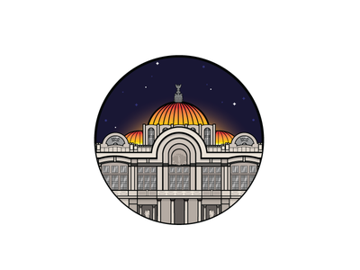 Palacio de Bellas Artes architecture illustration graphic design mexico mexico city night stars building icon