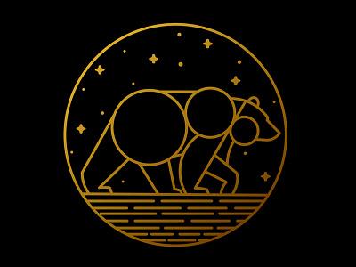 Big Dipper Logo branding sky night monoline river stars animal logo logo astronomy starts big dipper bear