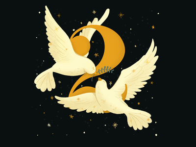 12 days of Christmas - Two Turtle Doves flat editorial holiday season fun personal christmas music christmas song christmas carols day two white bird night sky gold birds stars illustration turtle doves doves holiday christmas