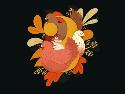 12 Days of Christmas - Three French hens song animal rooster straw hay autumn warm fall procreate drawing illustrations farm animals farm chickens hens christmas holidays