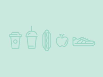 Downtown Icon Set shop retail sneaker shoe apple hot dog slurpee cups coffee