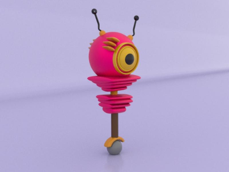 Robo wheel yellow experiment pink start character robot 3d