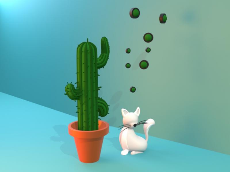 Cat & cactus vector artwork green cactus cat illustration graphic 3d design art