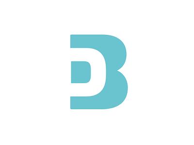 Db negative space letter db aqua blue build deign logo mark b d