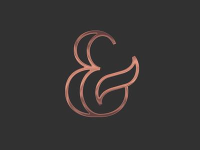 & shiny shine dark copper logo mark and ampersand