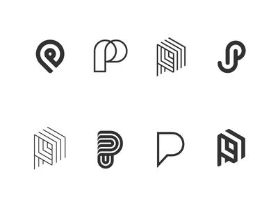 Pees black and white design logo mark p