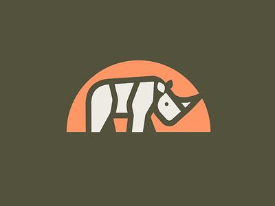 Rhino logo fat unicorn mammal animal big5 africa rhinoceros rhino illustration mark