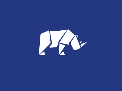 Rhino Mark chubby unicorn africa animal vector illustration blue origami amazon paper mark logo