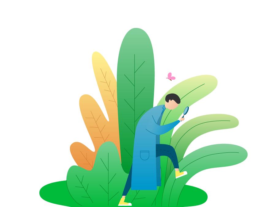 spring people man interface information design butterfly spring plant magnifier art character boy design ui illustration