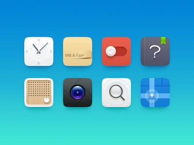 some icons icon setting clock note search map radio camera theme