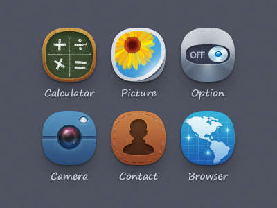 Qqdesk Theme icon iconset theme calculator picture option camera contact browser ui