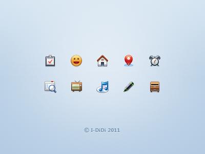 Icons 22px icon ui clock music search tv check markpen home lbs emoticon