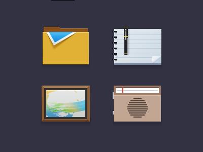 flat icons icon ui folder note pen frame radio