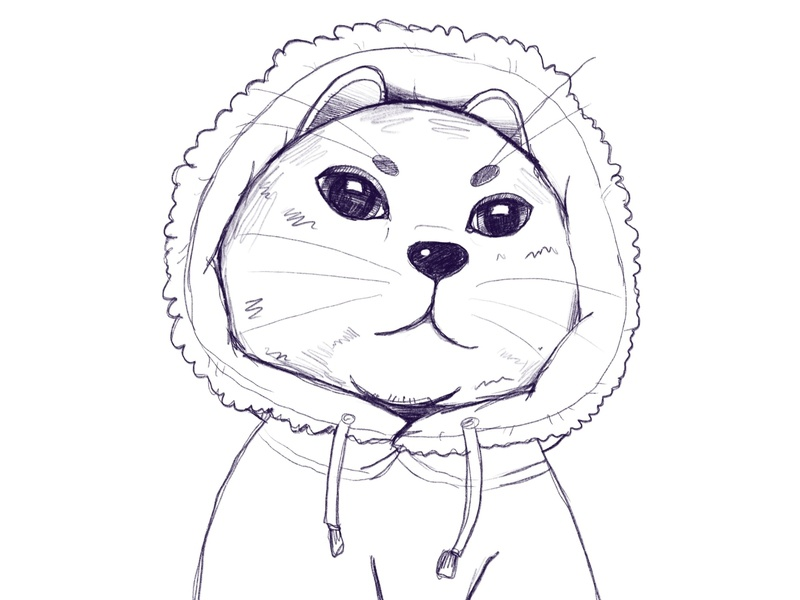MRT Sketch 7 drawing sketching 2d art indentity illustration design 2d jacket cute cat face