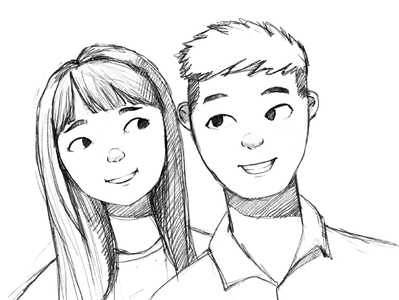 Sketching couple sketches style disney cute fun funny cute couple drawing sketching 2d art illustration design 2d