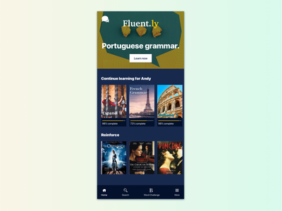 Fluent.ly: Language Learning App fluent language learning app homepage mobile ui duolingo language netflix app design mobile design visual design