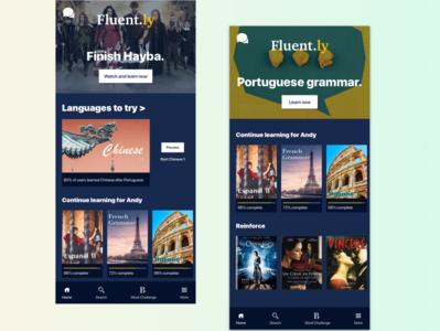 Fluent.ly: Language Suggestions generated suggestion learning app learn language learning language fluent duolingo netflix app design app mobile design visual design