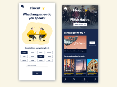 Fluent.ly: Onboarding Screen duolingo netflix fluent onboarding ui onboarding screens onboarding screen language app language learning language onboard onboarding mobile app design mobile design visual design