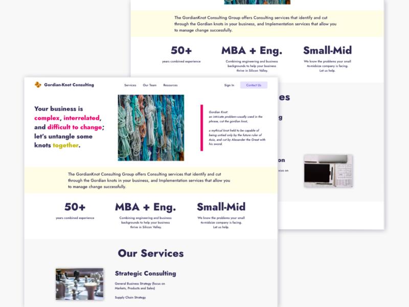 Gordian Knot Website Redesign consultancy ui homepage design homepage consulting web design visual design