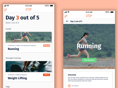 Step || Workout Of The Day product design app design app concept app step mobile social media visual design 2 color daily ui 062 homepage fjord workout of the day workout app workout flat design mobile design daily ui