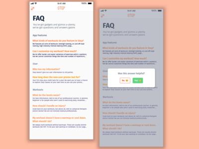 Step || FAQ workout app workout user inteface ui fitness fitness app step app design mobile flat design faqs faq mobile design dailyui visual design daily ui