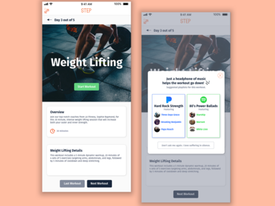 Step || Overlay daily ui overlay playlist ui weight lifting workout app workout app design steph overlay mobile design flat design dailyui visual design daily ui
