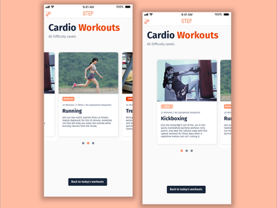 Step || Browse Cardio Workouts daily ui 72 daily ui 072 fitness app fitness preview flat step workout app workout app design mobile design dailyui visual design daily ui slider image slider