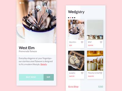 Wedgistry ui ecommerce app design mobile design wedding registry mobile app visual design