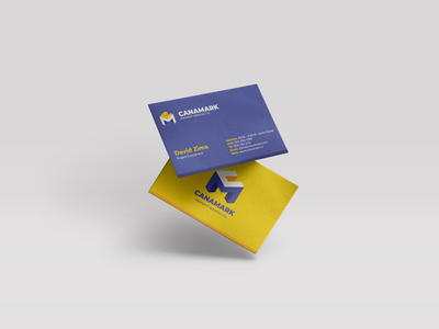 Freelance Branding | Business Card | Canamark freelance grid layout grid print freelance design blue and yellow business identity small business identity design mockup business card mockups logo graphic  design design mockup design business card mockup business card brand identity branding brand