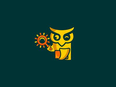 Owl Student education school book observation observer study student owl animal logo