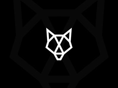 Wolf Geometric white black modern style geometric simple logo dog wolf animal
