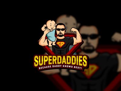 Super Daddy cartoon kids child baby hero super daddy logo mascot