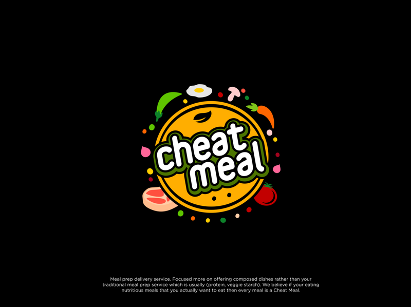 Cheat Meal Logo healthy food colorful logo design logo