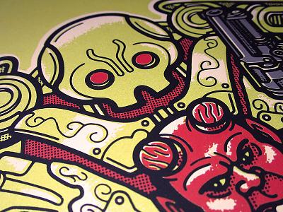 Hellboy 2 Print golden army illustration cartoon vector screenprint print robot hellboy