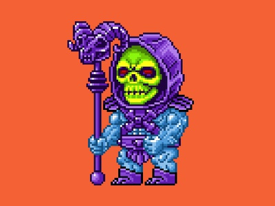 Skeletor Pixels masters of the universe 80s 16 bit pixel art pixels skeletor he-man motu