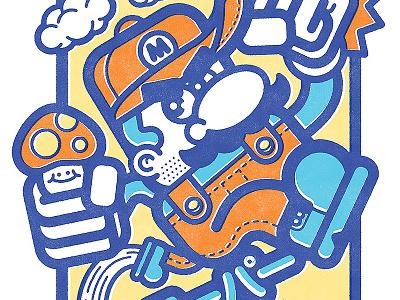Super Mario vector 80s illustration smb super mario bros nes bottleneck chogrin mario