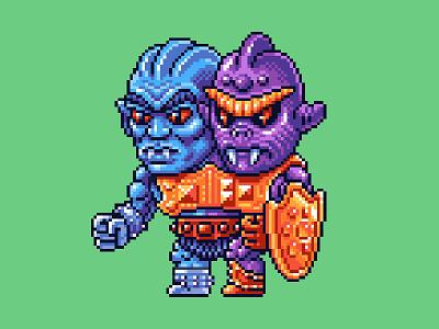 Two Bad Pixels motu masters of the universe he-man skeletor nes pixels pixel art 80s illustration 16bit