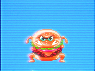 Sumo Burger Stomp illustration videogames 16bit 8bit nes hangry hungry cheeseburger hamburger pixel art pixels sumo burger