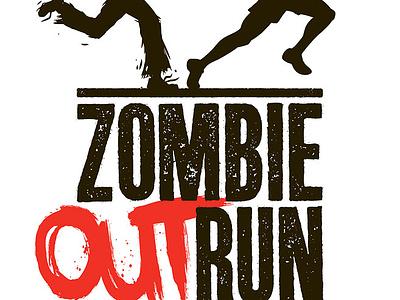 "Zombie Outrun ""Logo"" zombie run race texture grunge logo horror"