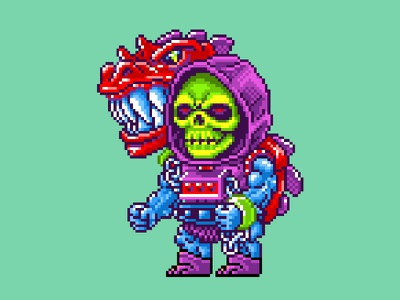 Dragon Blaster Skeletor Pixels masters of the universe motu 16 bit skeletor he-man nes pixels pixel art 80s illustration