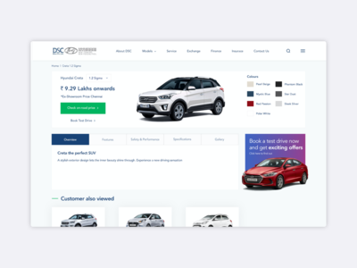 Automobile Product Page | UI | UX
