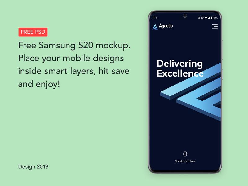 Samsung S20 Free Android Psd Mockup | FREEBIE |