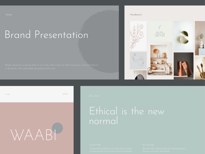 WAABI - A simple, rustic yet tasteful lifestyle brand identity ethical logo design presentation layout line art earth tone pastel green branding ecological sustainable development graphic design design brand identity brand design