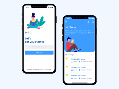 Reading Room Library iOS App UI/UX interface design user experience mobile app experience application booking app illustration design illustration user ui des mobile app design mobile app ux ui library app library reading room ios app app design app development app