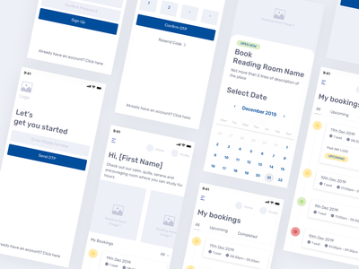 Reading Room Library iOS App - Wireframe dashboard ui login page booking app booking experience mobile app design mobile app mobile ui wireframe ios app design ios library app design ux uiux app website uidesign ui design